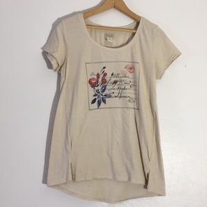 Lucky brand distressed graphic T-shirt with letter